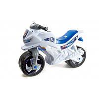 Каталка толокар детский Мотоцикл пластмассовый двухколесный белый Орион 501В