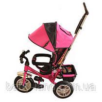 Детский трехколесный велосипед на большом надувном колесе розовый Turbo Trike M 3113-6A