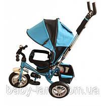 Детский трехколесный велосипед на большом надувном колесе голубой Turbo Trike M 3113-5A