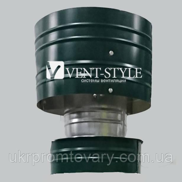 Дефлектор  двухконтурный 250/310 для системы дымоходов  нержавеющая сталь + оцинкованная сталь зеленая