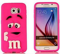 Чехол Силиконовый M&Ms 3D для Samsung Galaxy S6 G920F Розовый