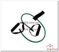 Эспандер трубчатый с ручками и фиксатором зеленый