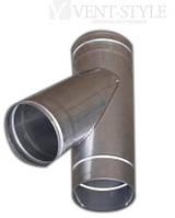 Тройник  сварной ф100 косой 45 из нержавеющей стали, 1мм