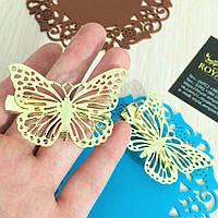 """Заколка """"Нежность"""", золотистые бабочки."""