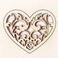 Чипборд Сердце ажурное 52х45 мм