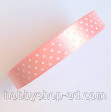 Стрічка в горох 1,5 см рожева