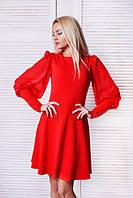 Платье женское однотонное с шифоновыми рукавами-фонарик.