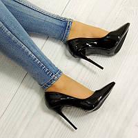 Черные женские туфли лодочки на шпильке KAMAL