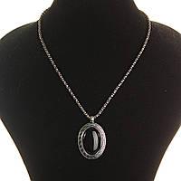 [20х30мм] Кулон на цепочке Агат крупный темно серый металл оправа греческий узор овальная