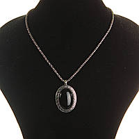 Кулон на цепочке Агат темно серый металл оправа греческий узор зубчик овальная 40х30мм L-45-55см