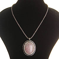 [30х40мм] Кулон на цепочке Розовый кварц крупный темно серый металл греческая оправа  со стразами овальная