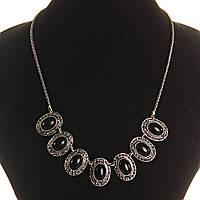 Колье с Агатом в металле под капельное серебро, 7 овальных вставок 10*15, длина 50см
