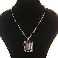 """[20х25мм] Кулон на цепочке Розовый кварц """"картина в рамке""""крупный темно серый металл оправа прямоугольная полосы со стразами"""