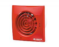 Бесшумный вентилятор Вентс 125 Квайт ТН (Vents 125 Quiet) с таймером и датчиком влажности красный