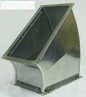 Прямоугольный отвод 45 100х100  горизонтальный из оцинкованной стали 0,5 мм.