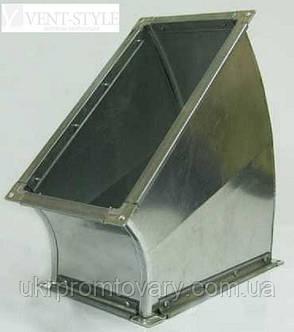 Прямоугольный отвод 45 500х250  горизонтальный из оцинкованной стали 0,5 мм., фото 2