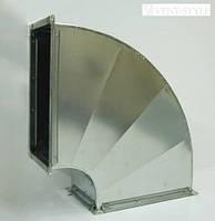 Прямоугольный отвод 90  100х100  горизонтальный из оцинкованной стали 0,5 мм.