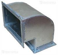 Прямоугольный отвод 90  100х100  вертикальный из оцинкованной стали 0,5 мм.