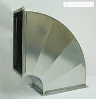Прямоугольный отвод 90  600х350  горизонтальный из оцинкованной стали 0,5 мм.