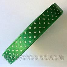 Стрічка в горох 1,5 см зелена