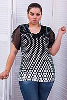 Блуза з коротким рукавом крильце з шифону з принтом великого розміру 54-56, фото 1