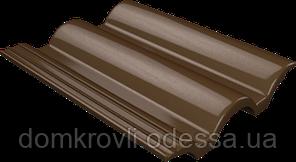 Цементно-песчаная черепица Ondo Marron темно-коричневый