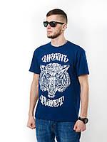 Футболка мужская с принтом City Kings Navy качественная синяя (стильные, летние мужские футболки)