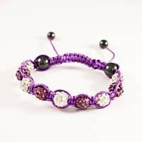 Браслет Шамбала, фиолетовая нить