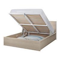 """IKEA """"МАЛЬМ"""" Кровать с подъемным механизмом, дубовый шпон, беленый, 140x200 см"""