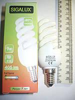 Лампа энергосберегающая Sigalux 9W 9вт Е14 2700K желтый свет
