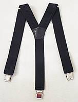 Черные широкие мужские подтяжки 4 см.