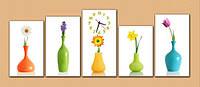 """Настенные модульные часы """"Цветы в вазах"""""""