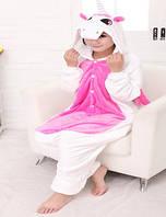 Кигуруми единорог белый с розовым животом и крыльями рост 150-160 S kigurumi костюм