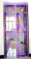 Антимоскитная шторка на магнитах размер 210х90см фиолетовая с нежным рисунком