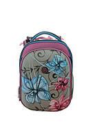 Ранец CLASS Flowers, 2 отделения, серо-розовый, 39*28*21см, 9624