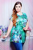 Летняя блуза свободного покроя из комбинации атласной ткани на спинке и цветной сетки большого размера 56-58