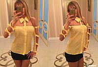 Рубашка женская летняя рукава с бантиками
