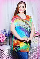 Летняя блуза свободного покроя из комбинации атласной ткани на спинке и цветной сетки большого размера 52-58