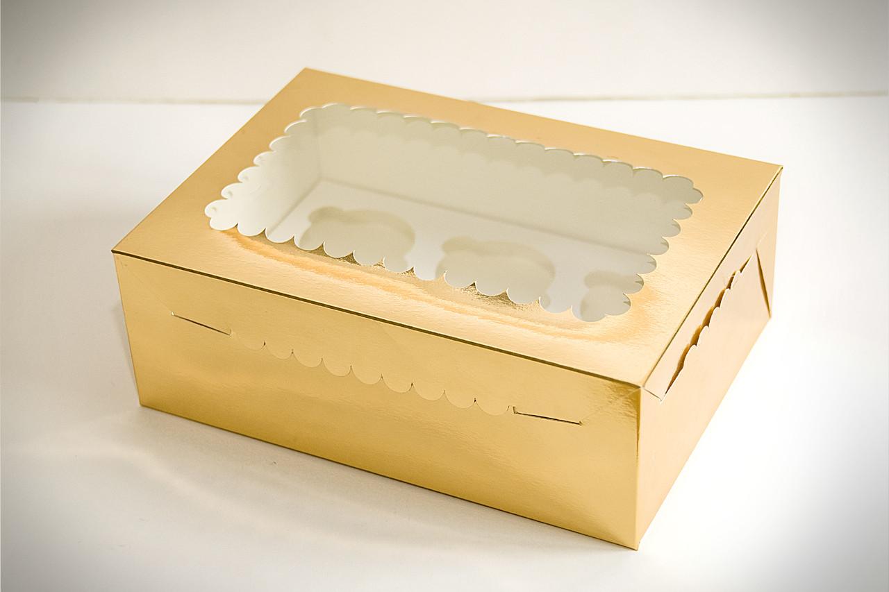 Коробка для маффинов с окошком золото/серебро 6шт. (код 04949)