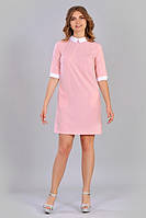 Женское летнее платье розового цвета с белым воротником