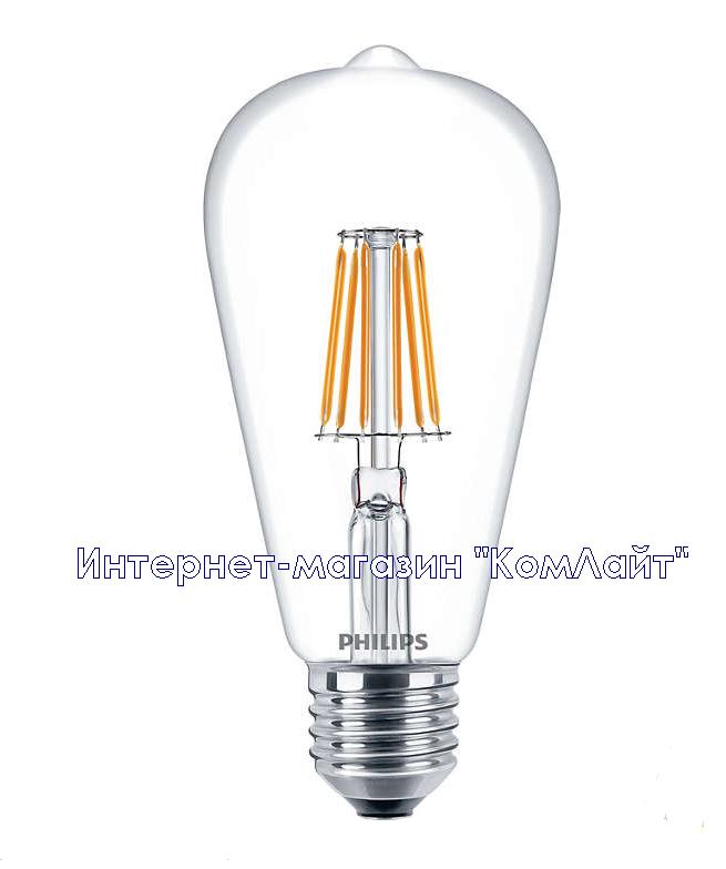 Филаментная светодиодная лампа PHILIPS LED Fila 7.5-70W E27 WW ST64 ND (Китай)