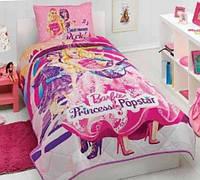 Подростковое постельное белье TAC  DISNEY простынь на резинке BARBIE PRINCESS POPSTAR