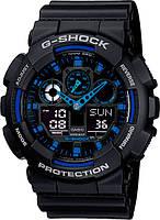 Часы наручные в стиле Casio G-Shock GA-100 черно-синие