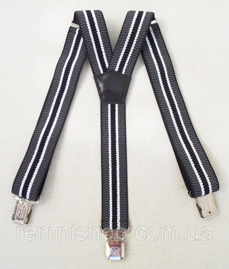 Черно-серые мужские подтяжки 4 см.