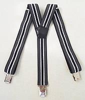Черно-серые мужские подтяжки 4 см., фото 1