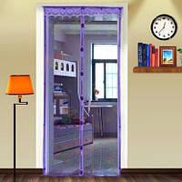 Антимоскитная шторка на магнитах-кнопках размер 210х110см цвет фиолетовый