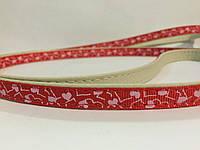 Поводок Дрим Пет  1,2м/10мм для собак, рисунок - сердечки, красный