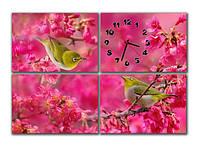 """Настенные модульные картина-часы """"Птички в цветах"""""""