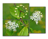 """Красивые настенные модульные картина-часы """"Цветение вишни"""""""