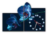 """Настенные модульные картина-часы """"Голубая орхидея"""" 2 модуля"""